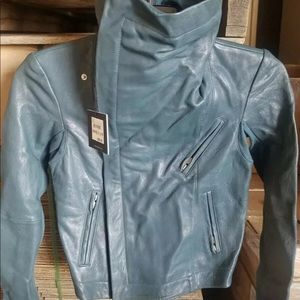 Veda Scuba Classic Leather teal Moto Jacket Size M